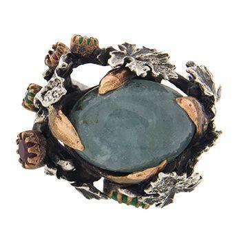 Anillo con aguamarina, rubís y esmeraldas de Tabata Morgana
