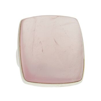 Anillo de plata con cuarzo rosa cuadrado de Tabata Morgana