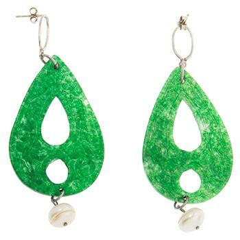 Pendientes de Jade con perla y plata de Tabata Morgana