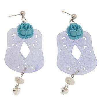 Pendientes de Jade con plata y flor azul de Tabata Morgana