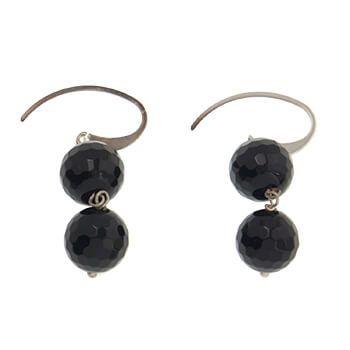 Pendientes de piedra onix y plata dos bolas de Tabata Morgana