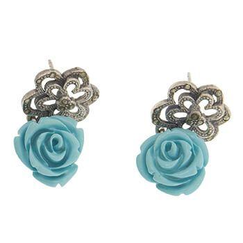 Pendientes de plata con marquesitas y flor azul de Tabata Morgana
