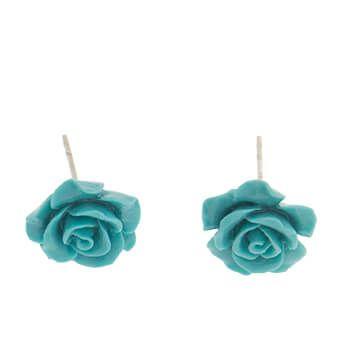 Pendientes de plata con flor azul de Tabata Morgana