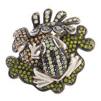 Anillo de plata con circonitas y una rana de Tabata Moragana
