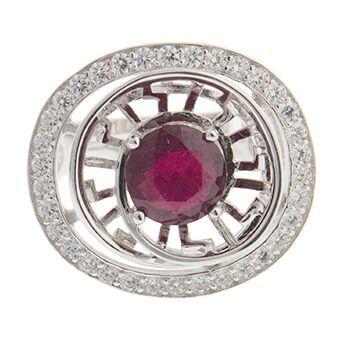 Anillo de plata con rubí y circonitas de Tabata Morgana