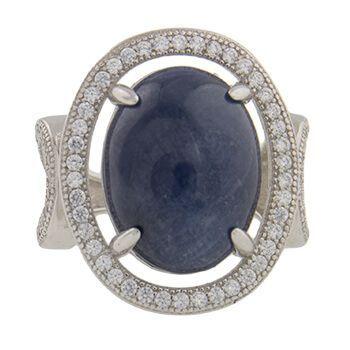 Anillo de plata con zafiro y circonitas de Tabata Morgana