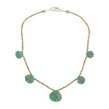Collar corto de plata con Amazonitas y piritas de Tabata Morgana