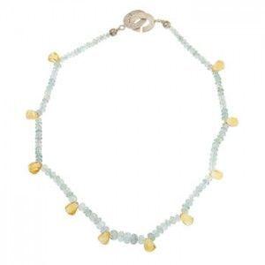 Collar corto de plata con aguamarina y citrinos de Tabata Morgana
