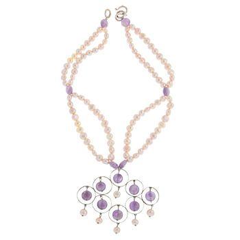 Collar corto de plata con perlas y amatistas de Tabata Morgana