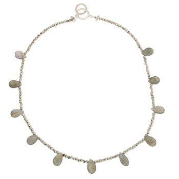 Collar corto de plata con Labradoritas y pirita de Tabata Morgana