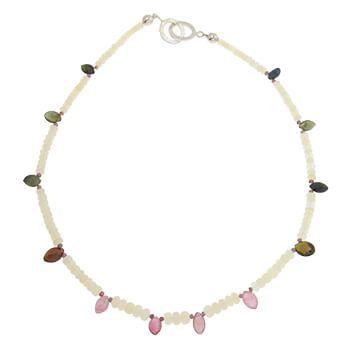 Collar corto de plata con opalos y Turmalinas de Tabata Morgana