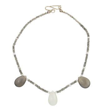 Collar corto de plata con Piedra luna, esprectolita y labradorita de Tabata Morgana